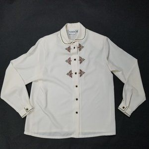 VINTAGE Koret Polyester Button Top